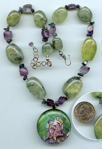 Archangel Raphael Prehnite Necklace - PatriArts Gallery - 1