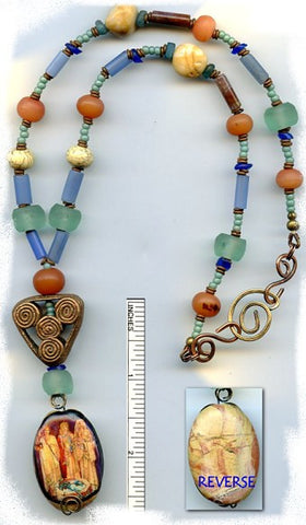 Brigid Goddess Antique Glass/Gem Necklace - PatriArts Gallery