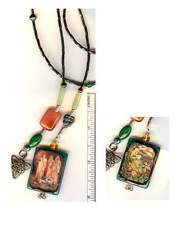 Brigid Goddess/Brigid of Ireland Reversible Lariat Necklace - PatriArts Gallery