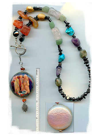 Brigid Goddesses Fire Agate Necklace - PatriArts Gallery