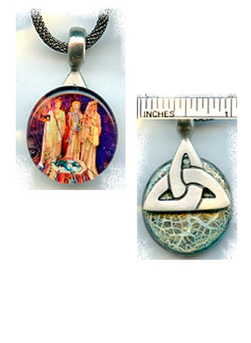 Brigid Goddesses Pewter Glass/Triangle Pendant - PatriArts Gallery