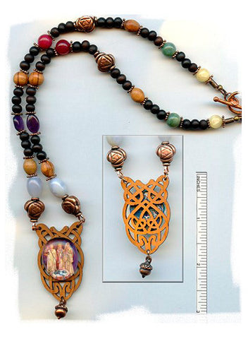 Brigid Goddesses Wood/Bone/Gem Necklace - PatriArts Gallery