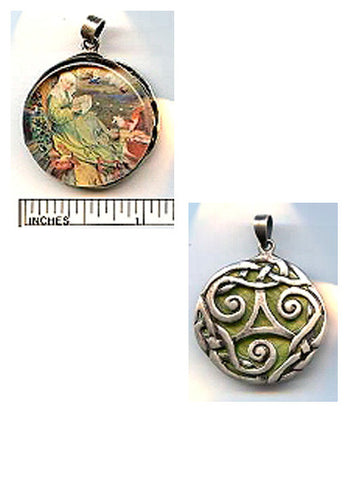 Brigid of Ireland Reversible Sterling Pendant - PatriArts Gallery