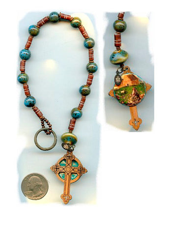 Columba Irish Penal Rosary with Ancient Money Ring - PatriArts Gallery