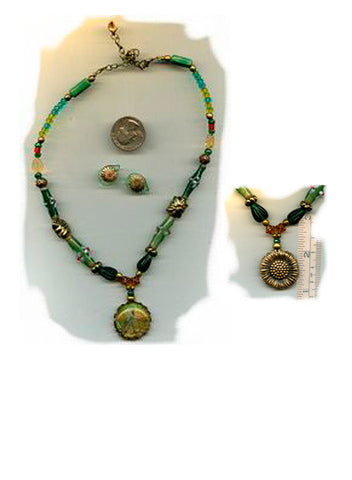 Fiacre Necklace/Sunflower Earring Set - PatriArts Gallery
