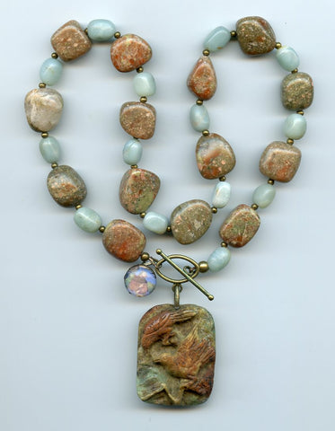 Francis of Assisi Carved Birds Evocative Necklace - PatriArts Gallery