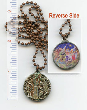 Francis of Assisi Pewter and Glass Reversible Pendant - PatriArts Gallery
