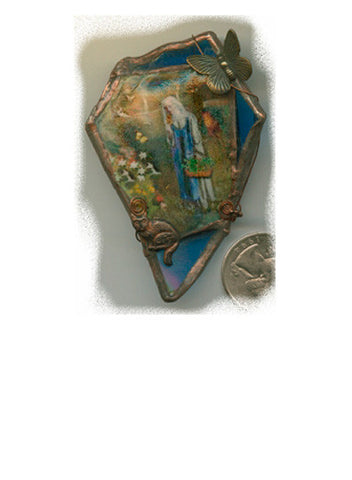 Gertrude Blue Glass Brooch/Pendant - PatriArts Gallery