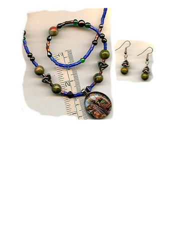 Ita Celtic Cross Necklace & Earring Set - PatriArts Gallery