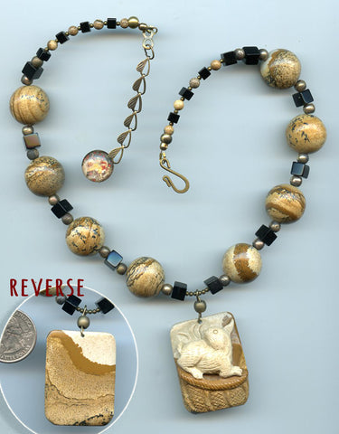 Melangell  Carved Jasper Rabbit Necklace - PatriArts Gallery