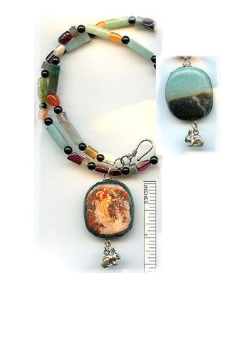 Melangell Reversible Amazonite Necklace - PatriArts Gallery