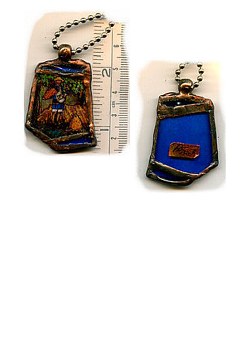 Vincent Bottle Glass Pendant with Silver Plated Chain - PatriArts Gallery