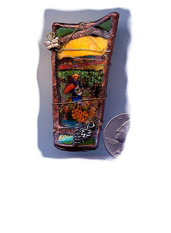 Vincent Bottle Green Glass Brooch/Pendant - PatriArts Gallery