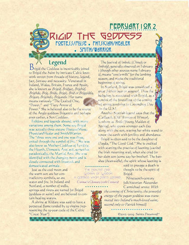 Brigid Goddess Scroll - PatriArts Gallery
