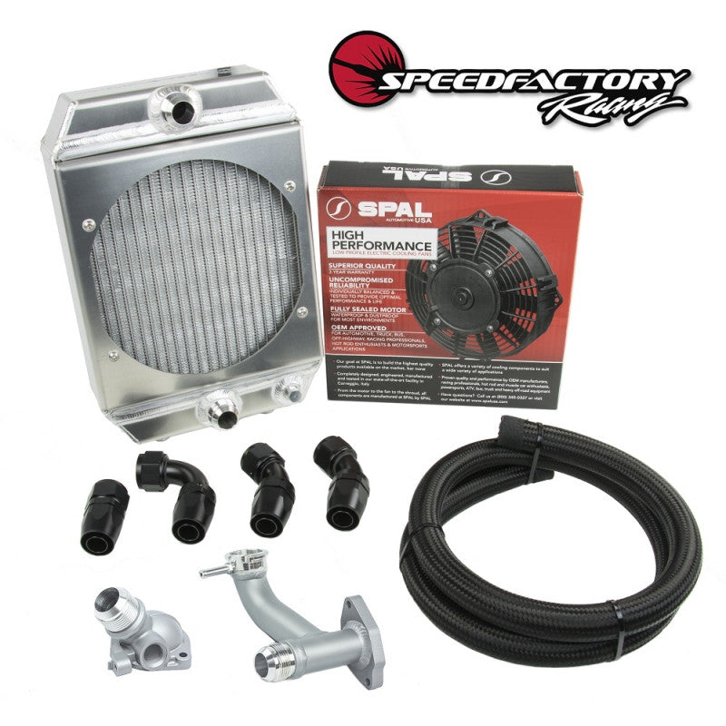 SpeedFactory Race Radiator Combo Kit -16an Hose, Fittings, Fill Neck and Thermostat Housing