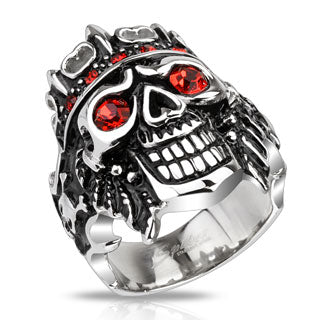 stainless steel skull ring with ruby eyes and studded crown