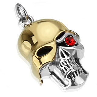 stainless steel skull pendant with ruby red eye and gold helmet