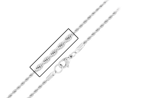 "Flashy Trends 2.5mm Stainless Steel 20"" Rope Chain"
