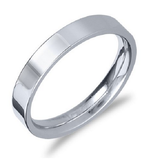4mm Stainless Steel Ring with Brushed Center & Beveled Edge