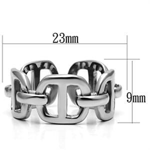 Polished stainless steel Women's Fashion Ring with an Interlocking Chain