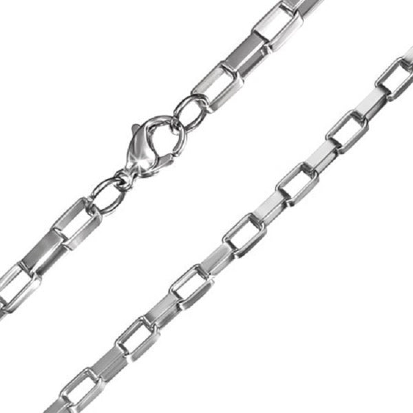"Flashy Trends 4mm Stainless Steel Box Link 24"" Chain"