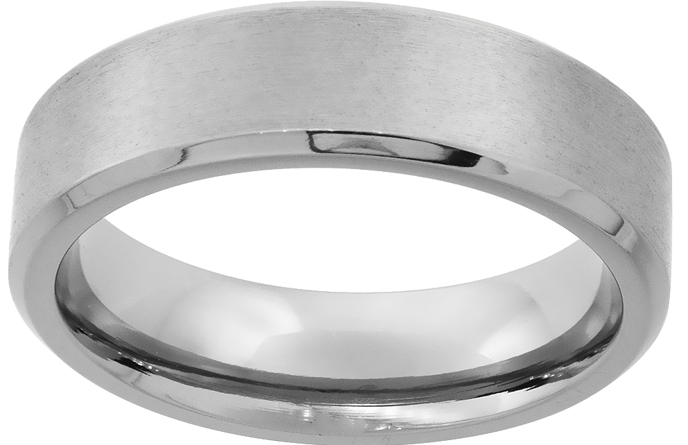 8 mm Stainless Steel Flat Ring with Brushed Center and Beveled Edge