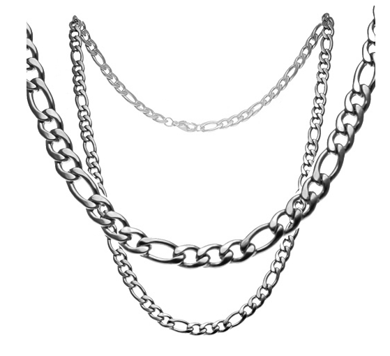 "Flashy Trends 6mm Stainless Steel Figaro 24"" Chain"
