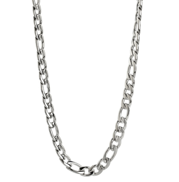 "Stainless Steel Figaro Chain 24"" (61cm) Long and GODSON Cross Pendant for Men or Women"