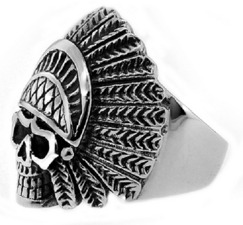 Stainless Steel 316L Indian Chief Skull Ring
