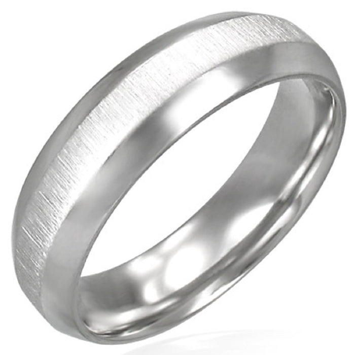 6mm Satin Finish Stainless Steel Ring With Beveled Edge & Comfort Fit
