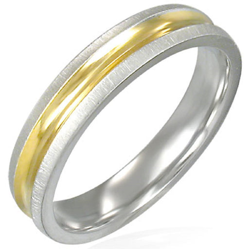 4mm Stainless Steel Two Tone Ring With Gold Band in Satin Finish & Comfort Fit