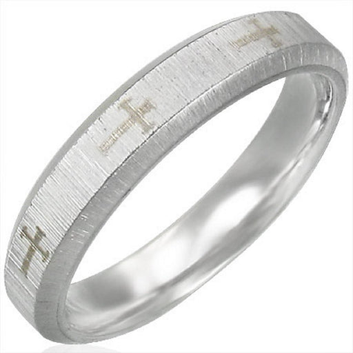 4 mm Satin Finished 2 Tone Stainless Steel Band Ring with Beveled Edge & Comfort Fit