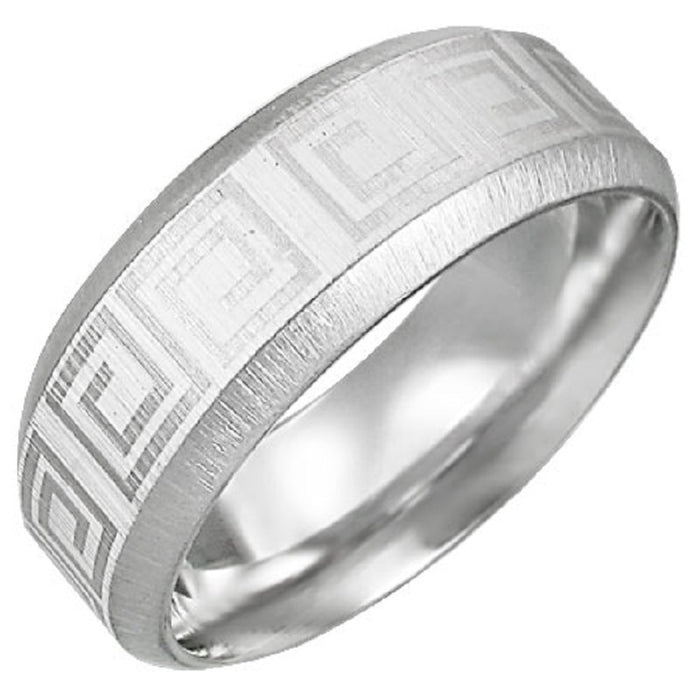 Satin Finished Greek Key Design Stainless Steel 8mm Ring with Beveled Edge and Comfort Fit