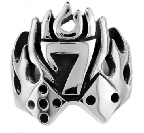 Stainless Steel 316L Lucky 7 Dice Ring With Flames