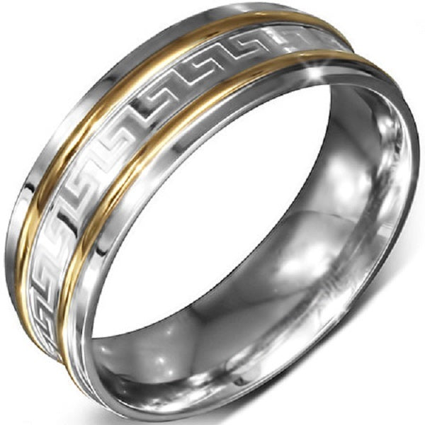 Half Round Stainless Steel Two Tone Ring with Greek Key Design and Comfort Fit