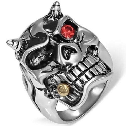 Stainless Steel 316L Demon Skull Ring With Siam Red CZ Eye