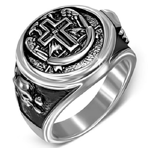 Stainless Steel 316L Latin Cross Pirate Skull Crossbones Ring