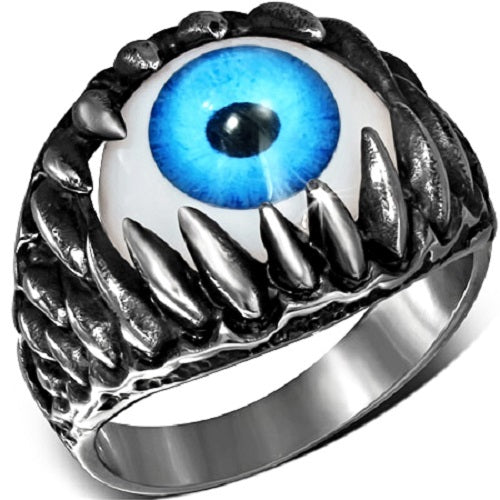 Stainless Steel 316L 2-Tone Blue Eyeball Shark Tooth Ring