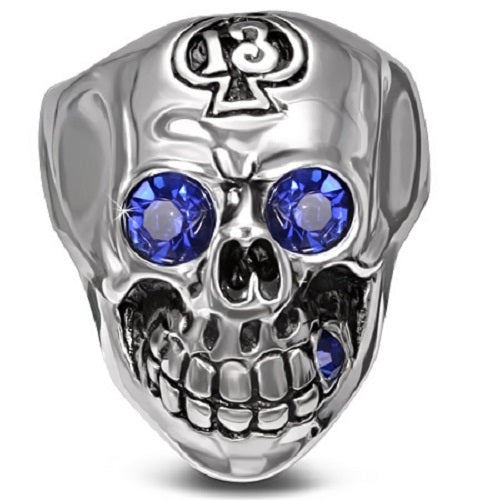 Stainless Steel 316L Blue Eyes CZ Skull With 13 Of Spades Ring