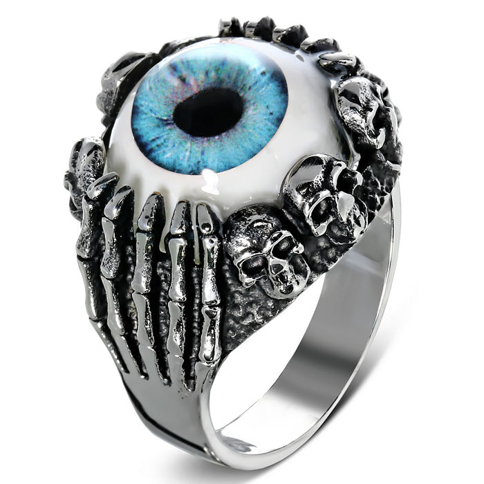 Stainless Steel 316L 2-Tone Blue Eyeball Hand Skull Ring