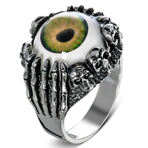 Stainless Steel 316L 2-Tone Brown Eyeball Hand Skull Ring
