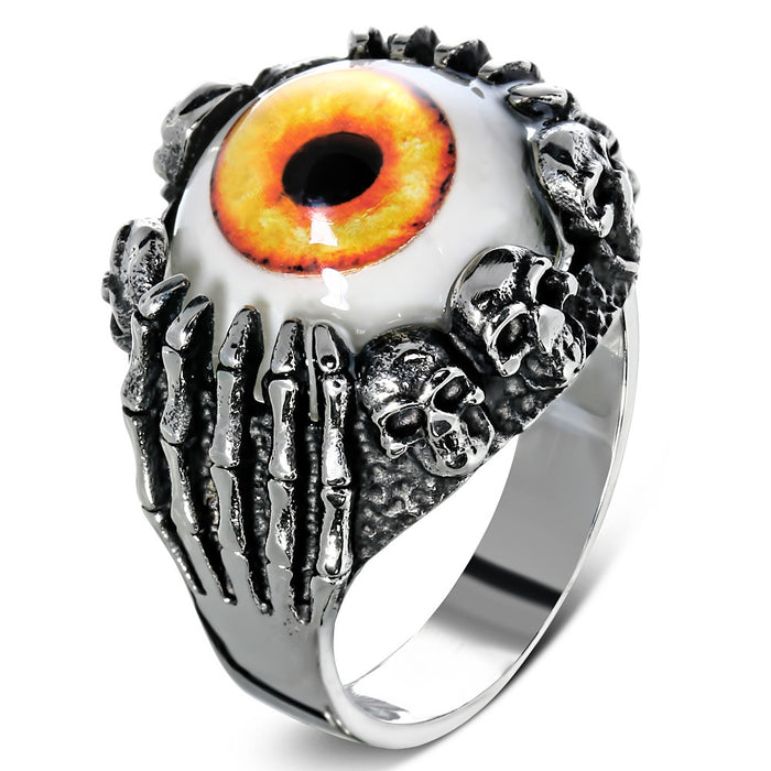 Stainless Steel 316L 2-Tone Orange Eyeball Hand Skull Ring