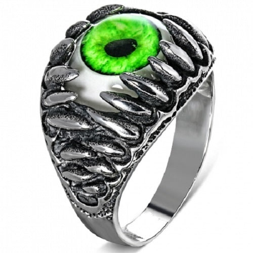 Stainless Steel 316L 2-Tone Green Eyeball Shark Tooth Ring