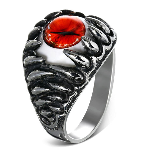 Stainless Steel 2-Tone Red Eyeball Shark Tooth Ring