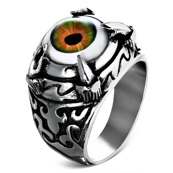 Stainless Steel 316L 2-tone Brown Eyeball Dragon Claw Ring