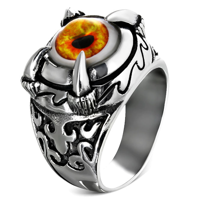 Stainless Steel 316L 2-Tone Orange Eyeball Dragon Claw Ring