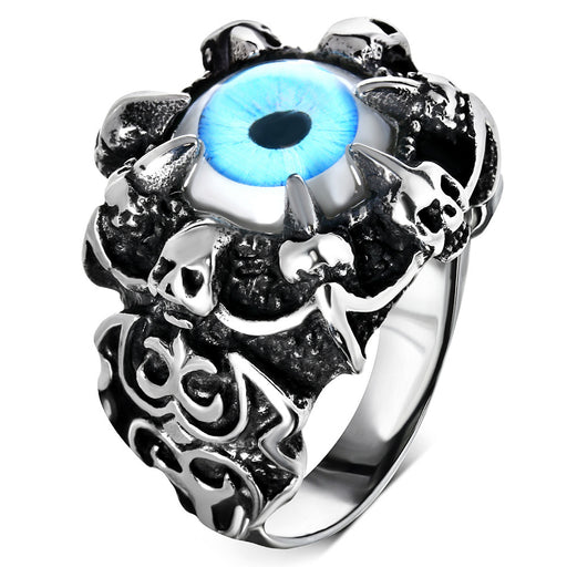 Stainless Steel 316L Blue Eye Ring With Claw & Skulls