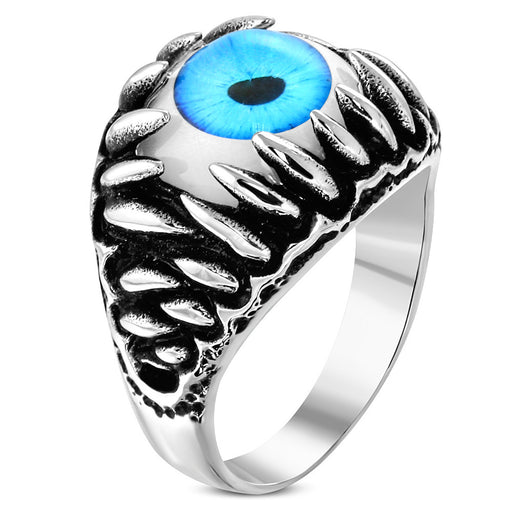 Stainless Steel 316L 2-Tone Eyeball Shark Tooth Ring