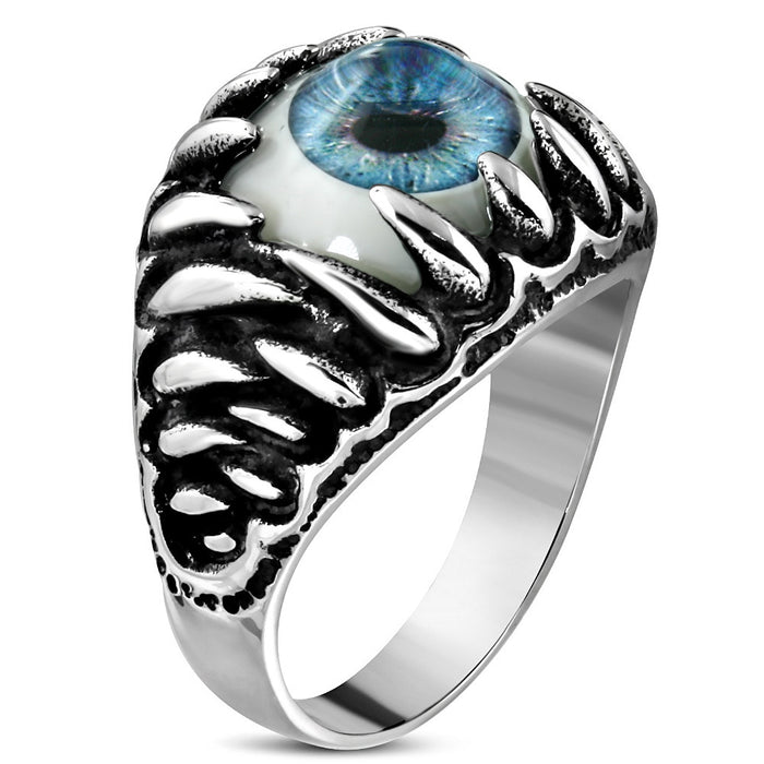 Stainless Steel 2-Tone Light Blue Eyeball Shark Tooth Ring