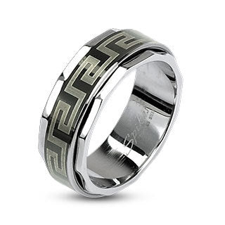 Stainless Steel 316L Black IP Greek Key Design Spinner Ring